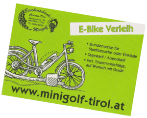 E-Bikepreisekarte; Minigolf Tirol, Dörr